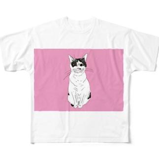 みーこおすわりイラスト 猫 白黒猫 保護猫 イラスト Full graphic T-shirts