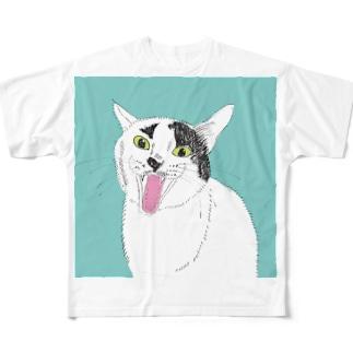 てんベロ出し みーこ&てん  猫 白黒猫 イラスト 保護猫 Full graphic T-shirts