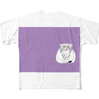 マヌルネコ 猫科 ネコ科 野生猫 野生動物 イラスト デザイナー グッズ Full graphic T-shirts