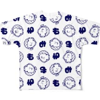 手ぬぐい風ホッカムリ二スト Full graphic T-shirts