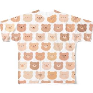 くまだらけ(ブラウン) Full graphic T-shirts