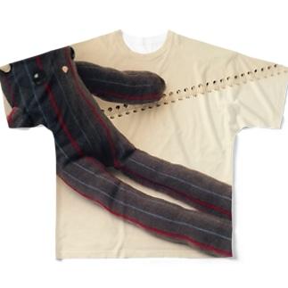 lucky wonder worldのロシアンブルコは足が長い Full graphic T-shirts