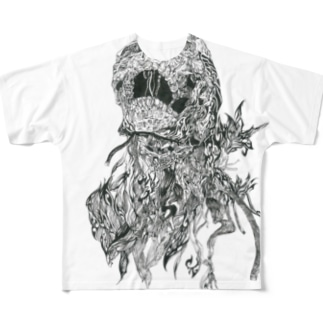 髑髏トライバル Full graphic T-shirts