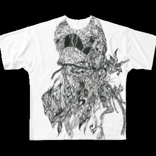 トライバルデザイナーGAIのお店の髑髏トライバル Full graphic T-shirts