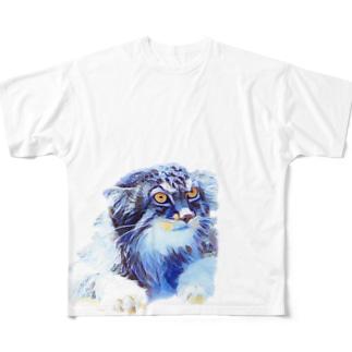 あおマヌルネコ Full graphic T-shirts