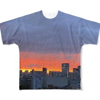 茜色の夕焼け Full graphic T-shirts