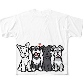 シュナウザーカルテット Full graphic T-shirts