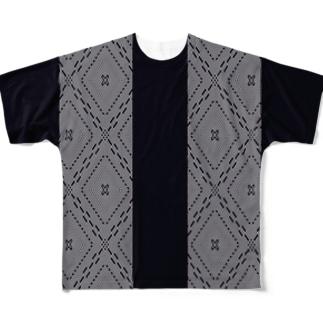 津軽こぎん刺し模様『東こぎん古作着物柄』 Full graphic T-shirts