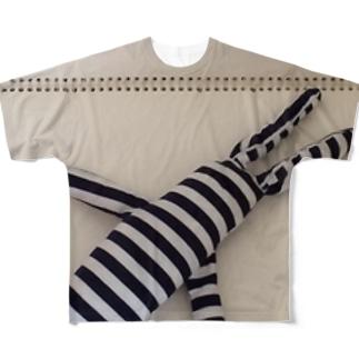 たてしまよこしまななめしまちゃん Full graphic T-shirts