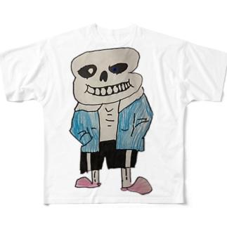 両面がいこつ Full graphic T-shirts