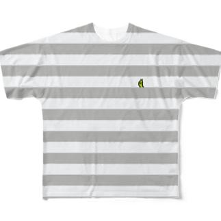 ボーダーグレー Full graphic T-shirts