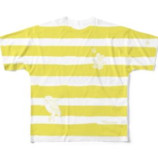 メンフクロウとボーダー イエロー Full graphic T-shirts