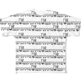 フェアリーを君に。(総柄・白) Full graphic T-shirts