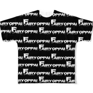 フェアリーを君に。(総柄・黒) Full graphic T-shirts