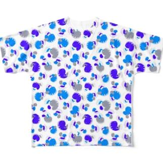 ウツボと小エビ柄(青) All-Over Print T-Shirt