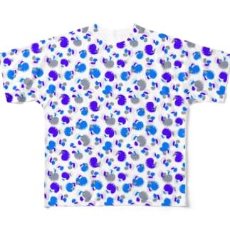 ウツボと小エビ柄(青)柄小 All-Over Print T-Shirt