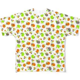 ウツボと小エビ柄(緑)柄小 All-Over Print T-Shirt