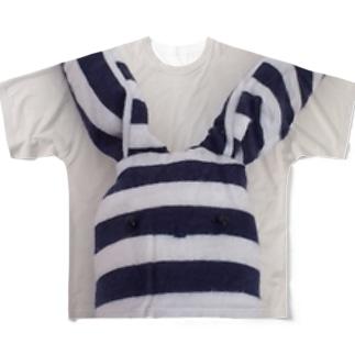 たてしまよこしまななめしまちゃんの顔 Full graphic T-shirts