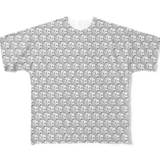 鮫総柄(白) Full graphic T-shirts