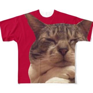 考えるぬこ 平和と狂気 Full graphic T-shirts