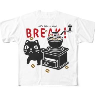 CT154やみねこのコーヒー*A*白ライン無し Full graphic T-shirts