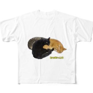 3猫団子 Full graphic T-shirts