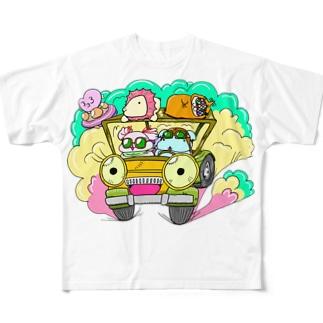 ドライブしちゃうよ。【カラー版】 Full graphic T-shirts