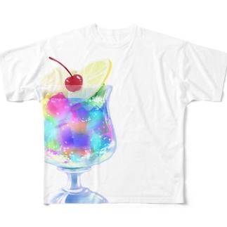純喫茶ブルーラビット・夢色ゼリーポンチ フルグラフィックTシャツ(背面ロゴあり) Full graphic T-shirts