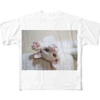 招き猫 珀ちゃん Full graphic T-shirts