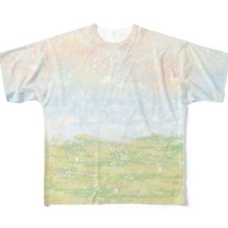 草原とうさぎ Full graphic T-shirts