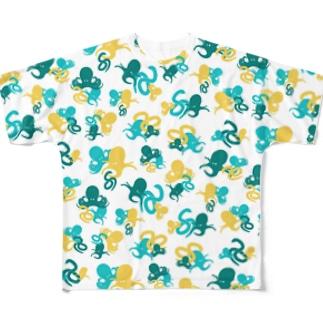 タコとヘビ柄(黄) All-Over Print T-Shirt