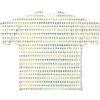 グラデーションドット グリーン系 Full graphic T-shirts