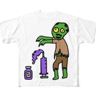 ゾンビ&謎の薬 Full graphic T-shirts