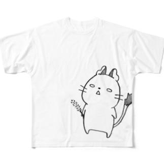 放心デグー(黒) Full graphic T-shirts