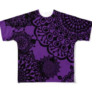 ヴィンテージ レース柄 パープル Full graphic T-shirts