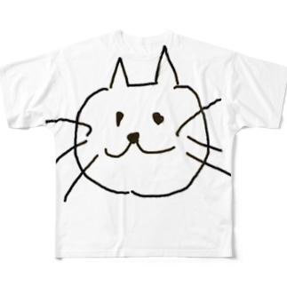 ねこのほほえみ Full graphic T-shirts