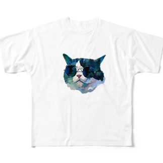 グラサンネコチャン Full graphic T-shirts