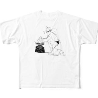 ろくろに振り回されるろくろ Full graphic T-shirts