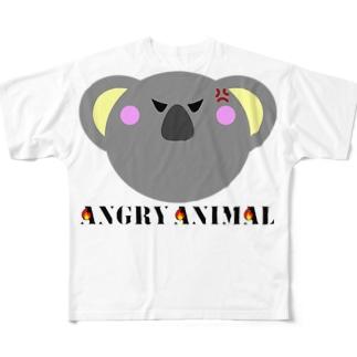 アングリーアニマル こあら Full graphic T-shirts