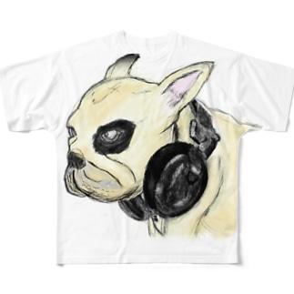 ちょっと怖いフレンチブルドッグのイラスト Full graphic T-shirts