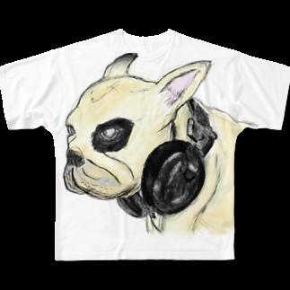 chicodeza by suzuriのちょっと怖いフレンチブルドッグのイラスト Full graphic T-shirts