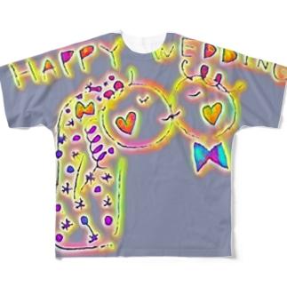 結婚おめでとう Full graphic T-shirts