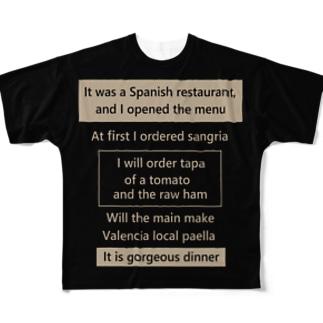 スパニッシュレストラン Full graphic T-shirts
