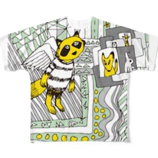 どうぶつの国 たぬき Full graphic T-shirts