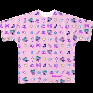 Nemon.Cのあぁちゃまゆめかわ8bit ピンク Full graphic T-shirts
