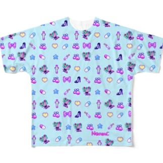 あぁちゃまのゆめかわ8bit  ブルー Full graphic T-shirts