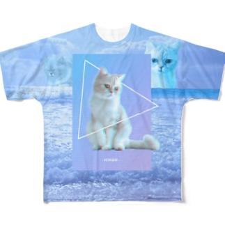 あらゆる猫を愛せ(文字なし片面) Full graphic T-shirts