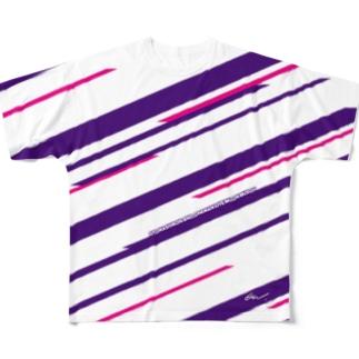 音無むおん⚡ショップSUZURI店の六音無双 フルグラフィックTシャツ白 Full graphic T-shirts