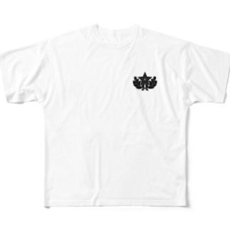 大日本帝国陸軍近衛師団帽章(ワンポイント 黒) Full graphic T-shirts