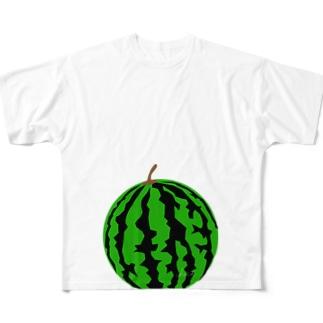 マタニティフォト すいか(スイカ) All-Over Print T-Shirt